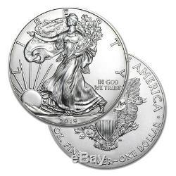 Lot of 10 Silver 2019 American Eagle 1 oz. Coins. 999 fine silver Eagles 1oz