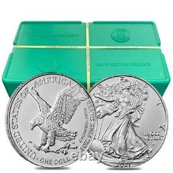 Lot of 200 2021 1 oz Silver American Eagle $1 Coin BU Type 2 10 Roll, Tube of
