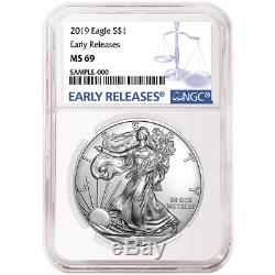 Lot of 20 2019 $1 American Silver Eagle NGC MS69 Blue ER with NGC Storage Box