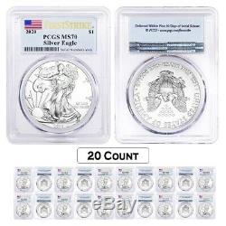 Lot of 20 2020 1 oz Silver American Eagle $1 Coin PCGS MS 70 FS (Flag Label)