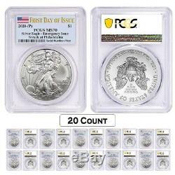 Lot of 20 2020 (P) 1 oz Silver American Eagle PCGS MS 70 FDOI Emergency Issue