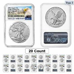 Lot of 20 2021 1 oz Silver American Eagle Type 2 NGC MS 70 ER (Eagle Label)