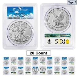Lot of 20 2021 1 oz Silver American Eagle Type 2 PCGS MS 70 FS (35th Anniv)