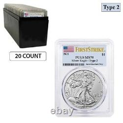 Lot of 20 2021 1 oz Silver American Eagle Type 2 PCGS MS 70 FS (Flag Label)
