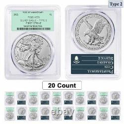 Lot of 20 2021 1 oz Silver American Eagle Type 2 PCGS MS 70 FS OGH 35th Anniv
