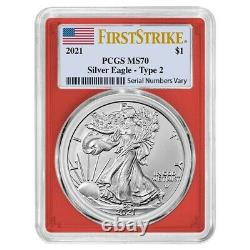 Lot of 20 2021 1 oz Silver American Eagle Type 2 PCGS MS 70 FS (Red Frame)