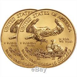 Lot of 2 2019 $10 American Gold Eagle 1/4 oz Brilliant Uncirculated