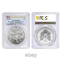 Lot of 2 2020 (P) 1 oz Silver American Eagle PCGS MS 70 FDOI Emergency Issue