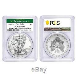 Lot of 2 2020 (P) 1 oz Silver Eagle PCGS MS 69 FS Philadelphia Emergency Issue