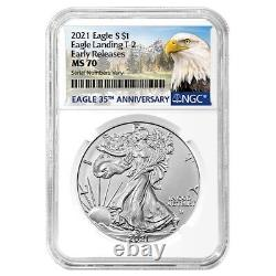 Lot of 2 2021 1 oz Silver American Eagle Type 2 NGC MS 70 ER (Eagle Label)
