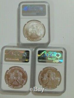 Lot of (3) American Eagle Dollar 1986 1991 1995 HTF Mercanti MS 70 NGC Coins