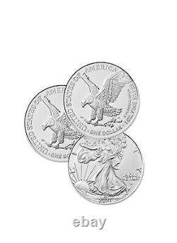 Lot of 3 Silver 2021 American Eagle 1 oz. Fine. 999 US oz Type 2 Design Coins