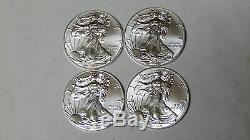 Lot of 4 American Silver Eagles 2017 2018 2019 2020.999 Fine Silver Dollars