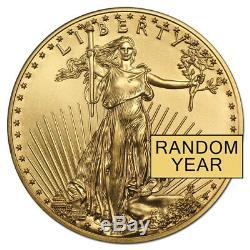 Lot of 5 1/10 oz Gold American Eagle $5 Coin BU (Random Year)