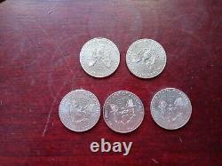 Lot of 5 1oz American Silver Eagles. 999 Fine Silver BU Coins, 5 COINS