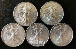Lot of 5 2014 1 oz Silver American Eagle Coins. 999 fine BU