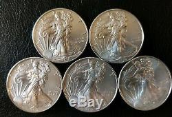 Lot of 5 2018 1 oz Silver American Eagle Coins. 999 fine BU
