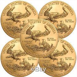 Lot of 5 2019 $50 American Gold Eagle 1 oz Brilliant Uncirculated