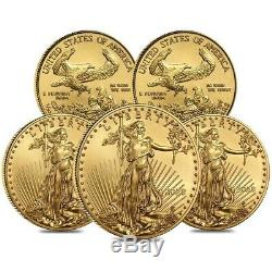 Lot of 5 2020 1/10 oz Gold American Eagle $5 Coin BU