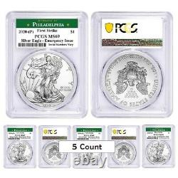 Lot of 5 2020 (P) 1 oz Silver Eagle PCGS MS 69 FS Philadelphia Emergency Issue