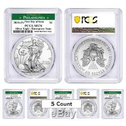 Lot of 5-2020 (P) 1 oz Silver Eagle PCGS MS 70 FDOI Philadelphia Emergency Issue