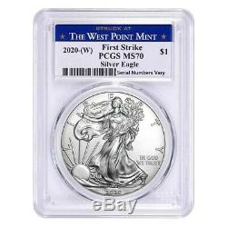 Lot of 5 2020 (W) 1 oz Silver American Eagle $1 Coin PCGS MS 70 FS West Point