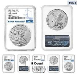 Lot of 5 2021 1 oz Silver American Eagle Type 2 NGC MS 70 ER