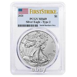 Lot of 5 2021 1 oz Silver American Eagle Type 2 PCGS MS 69 FS (Flag Label)