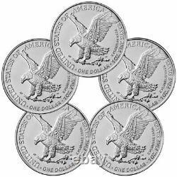 Lot of 5 2021 American 1 oz Silver Eagle T-2 GEM BU PRESALE
