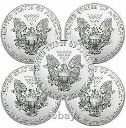 Lot of 5 2021 American Eagle Coins 1 oz. 999 Fine Silver Immediate Ship