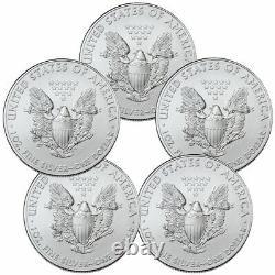 Lot of 5 2021 American Silver Eagle Gem Brilliant Uncirculated Coins PRESALE