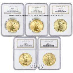 Lot of 5 $50 Gold Eagles NGC MS70 Gem 1oz US Eagle Bullion Coins Random Year