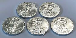 Lot of 5 BU 1 oz Silver 2019 American Eagles, 1 oz Coins. 999 Fine Silver