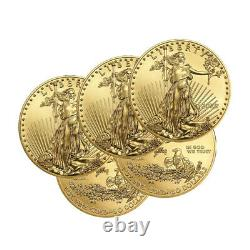 Lot of 5 Gold 2020 US 1oz American Eagle $50 Gold Coins