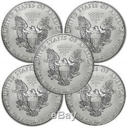 Lot of 5 Random Year American Eagle Coins 1 oz. 999 Fine Silver