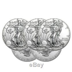 Lot of 5 Silver 2019 American Eagle 1 oz. Coins. 999 fine silver US Eagles 1oz