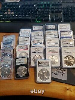 Lot of NGC + PCGS Silver Eagles MS63 To MS70