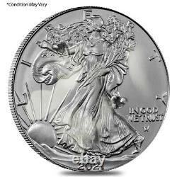MILKY Lot of 100 2021 1 oz Silver American Eagle $1 Coin Type 2 Scruffy