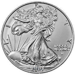 Presale Lot of 100 2021 $1 Type 2 American Silver Eagle 1oz Brilliant Uncirc