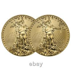 Presale Lot of 2 2021 $5 American Gold Eagle 1/10 oz Brilliant Uncirculated