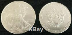 Roll Of 20 2008 $1 Silver American Eagles 1 oz Coins BU from US Mint FREE SHIP
