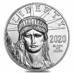 Roll of 20 2020 1 oz Platinum American Eagle $100 Coin BU (Lot, Tube of 20)