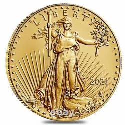Roll of 20 2021 1 oz Gold American Eagle $50 Coin BU Type 2 (Lot, Tube of 20)