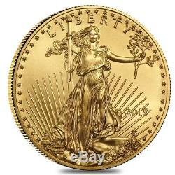 Roll of 50 2019 1/10 oz Gold American Eagle $5 Coin BU (Lot, Tube of 50)