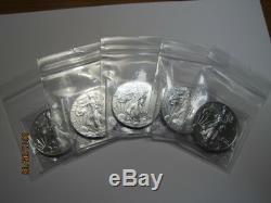 SALE! Lot of 5 Random Date 1 oz. American. 999 Silver Eagles BU NO milk spots