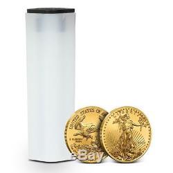Tube of 50 2018 1/10 oz Gold American Eagle Coin $5 Gem BU Mint Fresh Coins