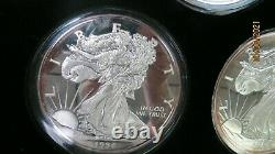 Washington Mint Giant Silver Eagles Half Pound. 999 1986-1995 10 Coins In Case