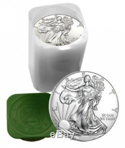 (100) Troy Ounce Lot Américain Silver Eagle Au Hasard. La Date Rolls 999 Choix Pur Bu