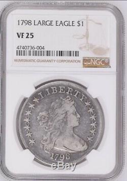 1798 Us Mint Grand Aigle $ 1 Dollar Certifié Monnaie Ngc Vf25 Livraison Gratuite
