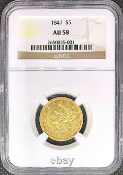 1847 $5 Gold Liberty Head American Half Eagle Au58 Ngc Rare Mint Coin